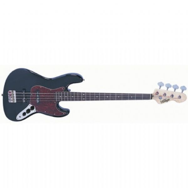 VINTAGE VJ74BLK Bass Guitar - Gloss Black - New
